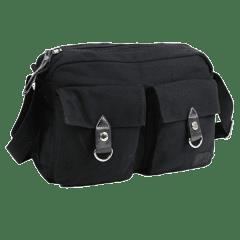 單寧布-雙口袋 厚磅側背包  【b0018】(黑色)