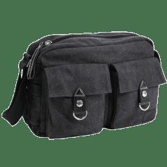 單寧布-雙口袋 厚磅側背包  【b0018】(灰色)