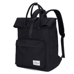 潮流單扣翻摺休閒後背包 / 電腦包 / 15.6吋電腦包 / 大容量後背包【B1780】(黑色)