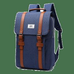 韓系磨砂料學院雙扣電腦後背包【B207】(深藍色)