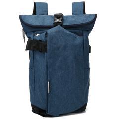韓系旅人風造型電腦後背包 / 15.6吋電腦包 / 潮流背包【B8905】(深藍色)