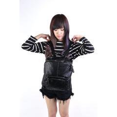 韓版-洗水皮多口袋時尚造型後背包【B9999】(黑色)