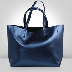 女用時尚珠光皮肩背包/ 托特包 / 真皮 【B0989】寶石藍色