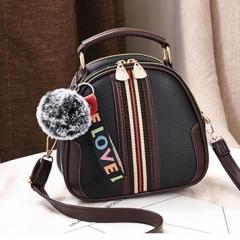 時尚彩帶圓狀斜背包 / 女側背包 / 圓包包【B8629】(黑色)