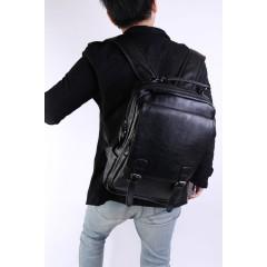 翻蓋造型個性化仿牛皮紋皮革後背包 / 牛皮後背包 / 復古造型背包【CS9588】黑色