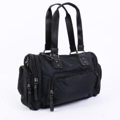 尼龍黑色系配皮肩背包 / 輕 旅行袋 / 斜背包 【S6466】黑色