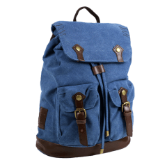 LECAF品牌經典車線造型-厚磅 帆布後背包 【C2016】(天藍色)