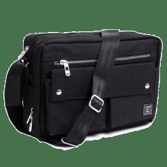 刷色系列-吉田風雙口袋側背包【C6007】(黑色)