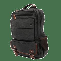 水洗帆布方格多袋後背包 / 筆電包【C8676】(黑色)