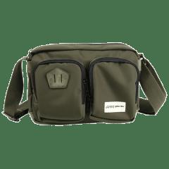 復古刷色豬鼻-尼龍雙前袋側背包【L0025】(綠色)