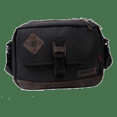 仿舊豬鼻子格紋設計美感隨身側背包【L3200】(黑色)