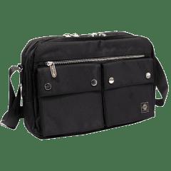 吉田風(大款)雙口袋側背包 / A4版【S1369】(黑色)