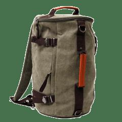 韓版-高磅單寧布型男圓筒三用背包【L8540】(軍綠色)