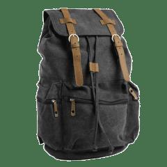韓版•真皮雙扣三口袋水洗帆布後背包【L80089】(黑色)