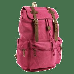 韓版•真皮雙扣三口袋水洗帆布後背包【L80089】(梅紅色)