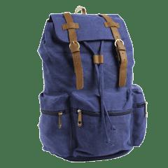 韓版•真皮雙扣三口袋水洗帆布後背包【L80089】(深藍色)