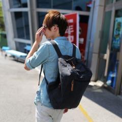 韓系洗水布造型後背包【L2122】(黑色)