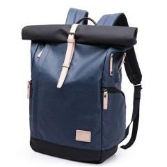 上卷式-後開後背包/ 英倫風時尚電腦後背包【B07002】時尚藍色