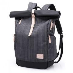 上卷式-後開後背包/ 英倫風時尚電腦後背包【B07002】格子灰
