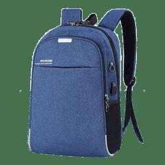 韓系雙主袋腰身設計/USB充電孔-防盜後背包 /15.6吋筆電包【B1802】(深藍色)