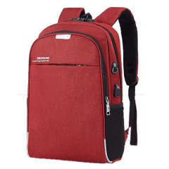 韓系雙主袋腰身設計/USB充電孔-防盜後背包 /15.6吋筆電包【B1802】(紅色)