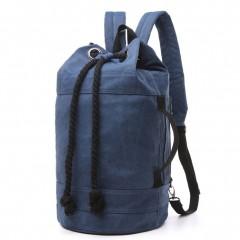 野戰個性拳擊洗水帆布後背包 / 拳擊包【B7142】深藍色 (賣場)
