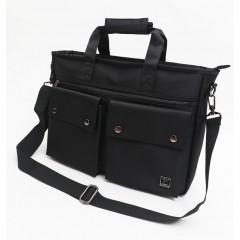 雙口袋高細格質感側背包 / 公事包 /斜背包 / 可放15.6吋筆電 / 托特包【C2528】黑色