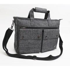 雙口袋高細格質感側背包 / 公事包 /斜背包 / 可放15.6吋筆電 / 托特包【C2528】雙開口雪花灰