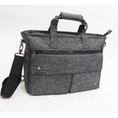 雙口袋高細格質感側背包 / 公事包 /斜背包 / 可放15.6吋筆電 / 托特包【C2528】單開口雪花灰