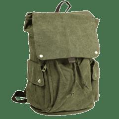 日系-上蓋真牛皮扣單寧布後背包【L6021】(軍綠色)